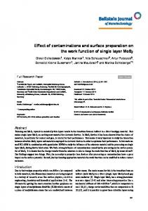 Effect of contaminations and surface preparation on ... - Beilstein Journal