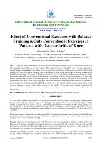 Effect of Conventional Exercises with Balance Training &Only - IJIRSET