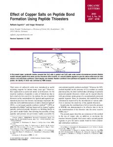 Effect of Copper Salts on Peptide Bond Formation Using Peptide ...