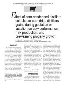 Effect of corn condensed distillers solubles or corn dried distillers ...