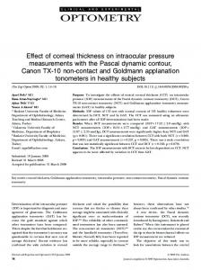 Effect of corneal thickness on intraocular ... - Wiley Online Library