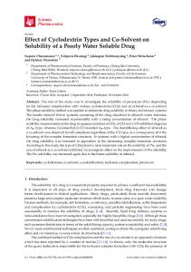 Effect of Cyclodextrin Types and Co-Solvent on Solubility of a ... - MDPI