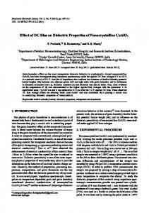 Effect of DC Bias on Dielectric Properties of ... - Springer Link