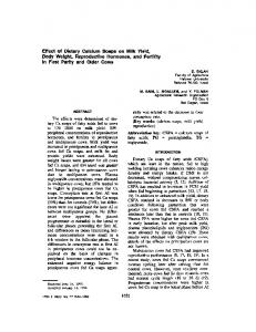 Effect of Dietary Calcium Soaps on Milk Yield, Body Weight
