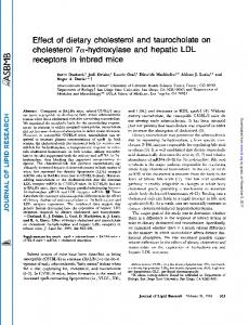 Effect of dietary cholesterol and taurocholate on cholesterol 7 ...