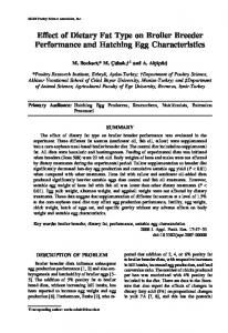 Effect of Dietary Fat Type on Broiler Breeder Performance and ...
