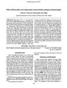 Effect of dietary fiber and crude protein content in ... - Semantic Scholar