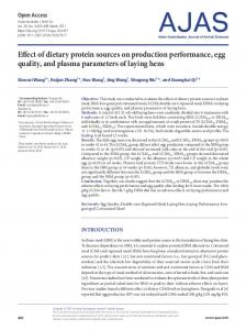 Effect of dietary protein sources on production