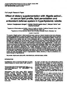 Effect of dietary supplementation with Nigella ... - Academic Journals