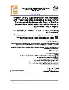 Effect of Dietary Supplementation with Probiotics and ...