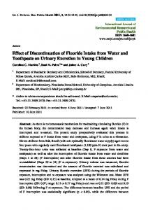 Effect of Discontinuation of Fluoride Intake from Water and ... - MDPI