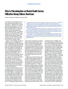 Effect of Discrimination on Mental Health Service Utilization Among ...