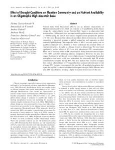 Effect of Drought Conditions on Plankton Community and on ... - BioOne