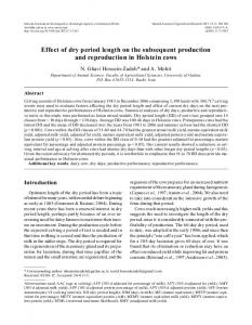 Effect of dry period length on the subsequent production ... - CiteSeerX