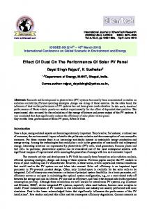 Effect Of Dust On The Performance Of Solar PV Panel - International ...