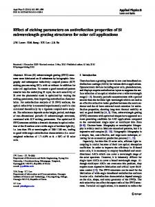 Effect of etching parameters on antireflection properties ... - Springer Link