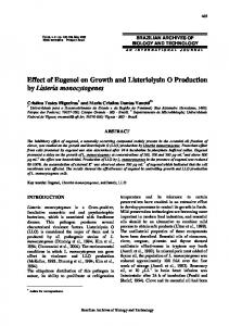 Effect of Eugenol on Growth and Listeriolysin O ... - Semantic Scholar