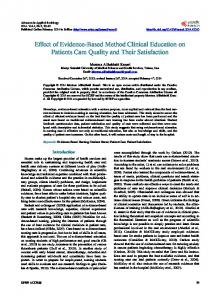 Effect of Evidence-Based Method Clinical Education on Patients Care ...