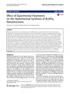 Effect of Experimental Parameters on the ...