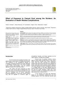Effect of Exposure to Cement Dust among the Workers: An Evaluation ...