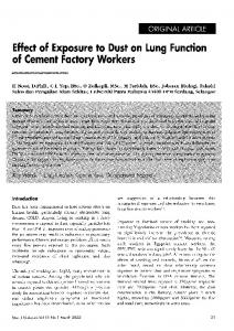 Effect Of Exposure to Dust on Lung Function of Cement Factory Workers