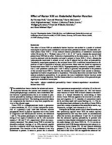 Effect of Factor XIII on Endothelial Barrier Function - BioMedSearch