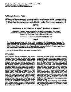 Effect of fermented camel milk and cow milk containing