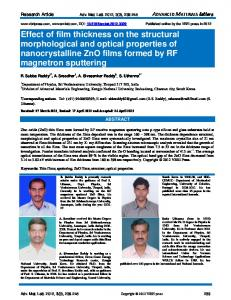Effect of film thickness on the structural morphological ... - VBRI Press