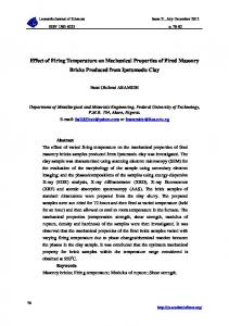 Effect of Firing Temperature on Mechanical Properties of Fired ...