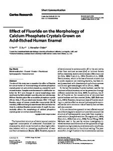 Effect of Fluoride on the Morphology of Calcium ... - CiteSeerX