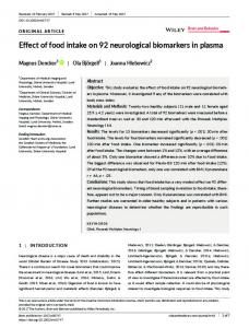 Effect of food intake on 92 neurological ... - Wiley Online Library