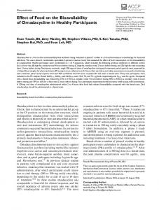 Effect of Food on the Bioavailability of Omadacycline in Healthy ...