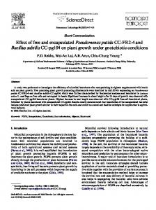 Effect of free and encapsulated Pseudomonas putida CC ... - CiteSeerX
