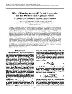 Effect of Freezing on Amyloid Peptide Aggregation and ... - Springer Link