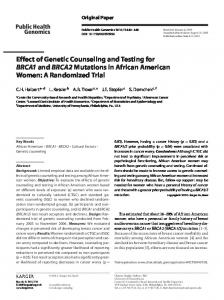 Effect of Genetic Counseling and Testing for BRCA1 and BRCA2 ...