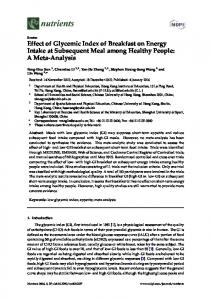 Effect of Glycemic Index of Breakfast on Energy ... - Semantic Scholar