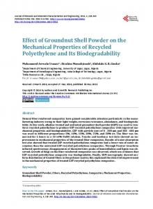 Effect of Groundnut Shell Powder on the Mechanical Properties of ...