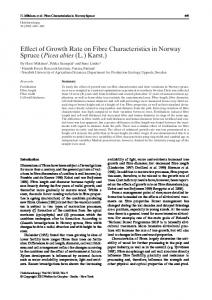Effect of Growth Rate on Fibre Characteristics in Norway Spruce ...