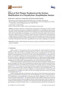 Effect of H2S Plasma Treatment on the Surface Modification - MDPI