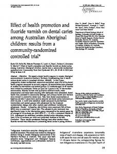 Effect of health promotion and fluoride varnish on ... - BioMedSearch