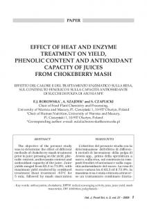eFFeCT OF HeaT aND eNZYMe TreaTMeNT ON