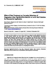 Effect of Heat Treatment on Corrosion Behaviour of Magnesium Alloy ...