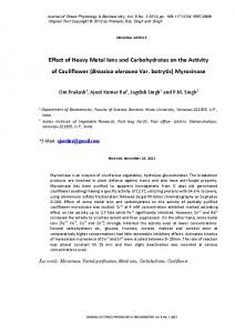 Effect of Heavy Metal Ions and Carbohydrates on the ...