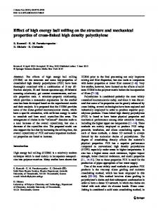 Effect of high energy ball milling on the structure and ... - Springer Link