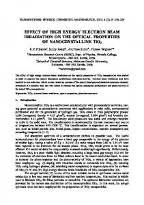 EFFECT OF HIGH ENERGY ELECTRON BEAM IRRADIATION ON