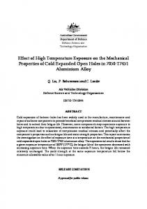 Effect of High Temperature Exposure on the Mechanical Properties of ...