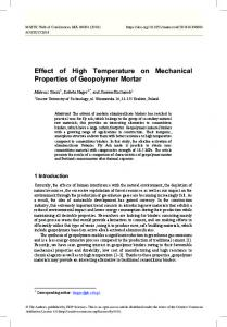 Effect of High Temperature on Mechanical Properties of Geopolymer