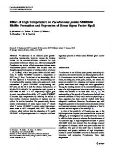 Effect of High Temperature on Pseudomonas putida ... - Springer Link
