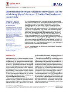 Effect of Hydroxychloroquine Treatment on Dry Eyes in Subjects with