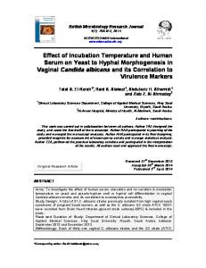 Effect of Incubation Temperature and Human Serum on Yeast to ...
